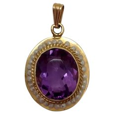 Amethyst and Seed Pearl Pendant 14K