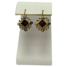Garnet Pearl Enamel 14k Earrings
