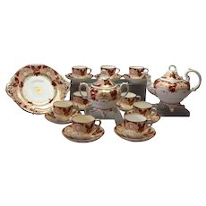 Coalport Tea Set Salmon Burgundy 1870's