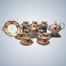 Coalport Tea Set Salmon Burgundy 1870's