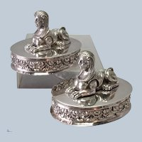Pair Sphinx Solid Silver Ornaments Early 19th c.