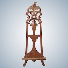 Victorian Easel Carved Walnut Miniature 10 5/8'