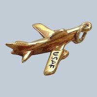 U.S. Air Force Airplane Charm 14K
