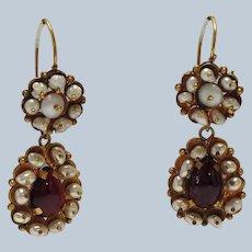 "Pearl and Garnet 2"" Drop Earrings Antique 10k"