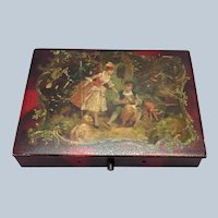 French Courting Couple Tole Painted Work Box