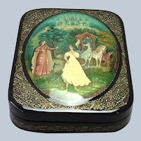 Russian Lacquer Cinderella Box with Castle Horse Carriage Signed