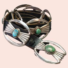Native American Turquoise Sandcast Silver Concho Belt
