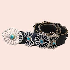 Native American Flower Turquoise Silver Concho Belt Sandcast