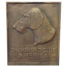 K. Weems Bronze Plaque Dachshund Club Of America