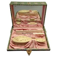 Cherub Swans Dresser Set Boxed Celluloid Fitted 1890's