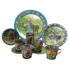 Vintage Little Red Riding Hood and Big Bad Wolf Lithograph Tin Tea Set