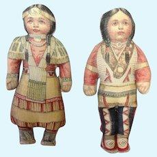 "Native American Boy and Girl Cloth Dolls Circa 1900 Arnold 6"""