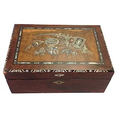 Lap Desk Mother of Pearl Floral Inlay 1900