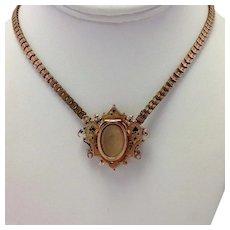 Locket Brooch 10k Enamel Watch Holder with Gold Filled Necklace