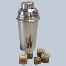 Miniature Sterling Cocktail Shaker and Dice 2 1/4""
