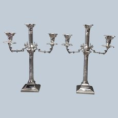 Pair Corinthian Column Candelabra  Electroplate Six Light 18""