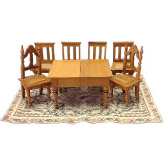Dining Set  Wood Early 1900 Dollhouse Miniature