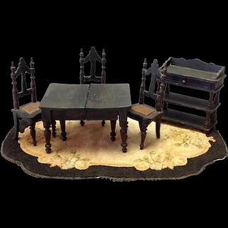 Dining Room Set Dollhouse Miniature Wood 6 pcs Antique
