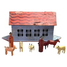 Noah's Ark Wood with Farm Animals Antique