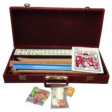 Vintage Mah Jongg Set Complete 4 Trays Faux Alligator Case MIB