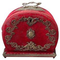 Music Box Sewing Case Necessaire Red Velvet 19th c.
