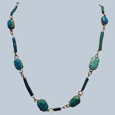 """Antique Egyptian Scarab and Faince Bead Necklace Gold FIlled Link 36"""""""