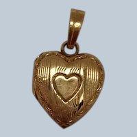 Heart Locket Charm 10K Vintage