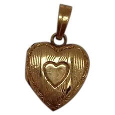 Heart Locket Charm 10K Vintage
