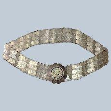 "Silver Coin Belt Guatemalan 1/4 Real 22"""