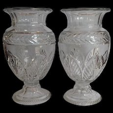 Pair Cut Glass Large Vases England Antique