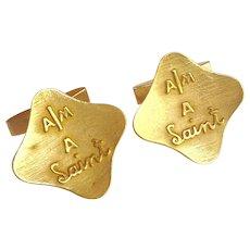 I Am A Saint Gold Cufflinks 14 Karat