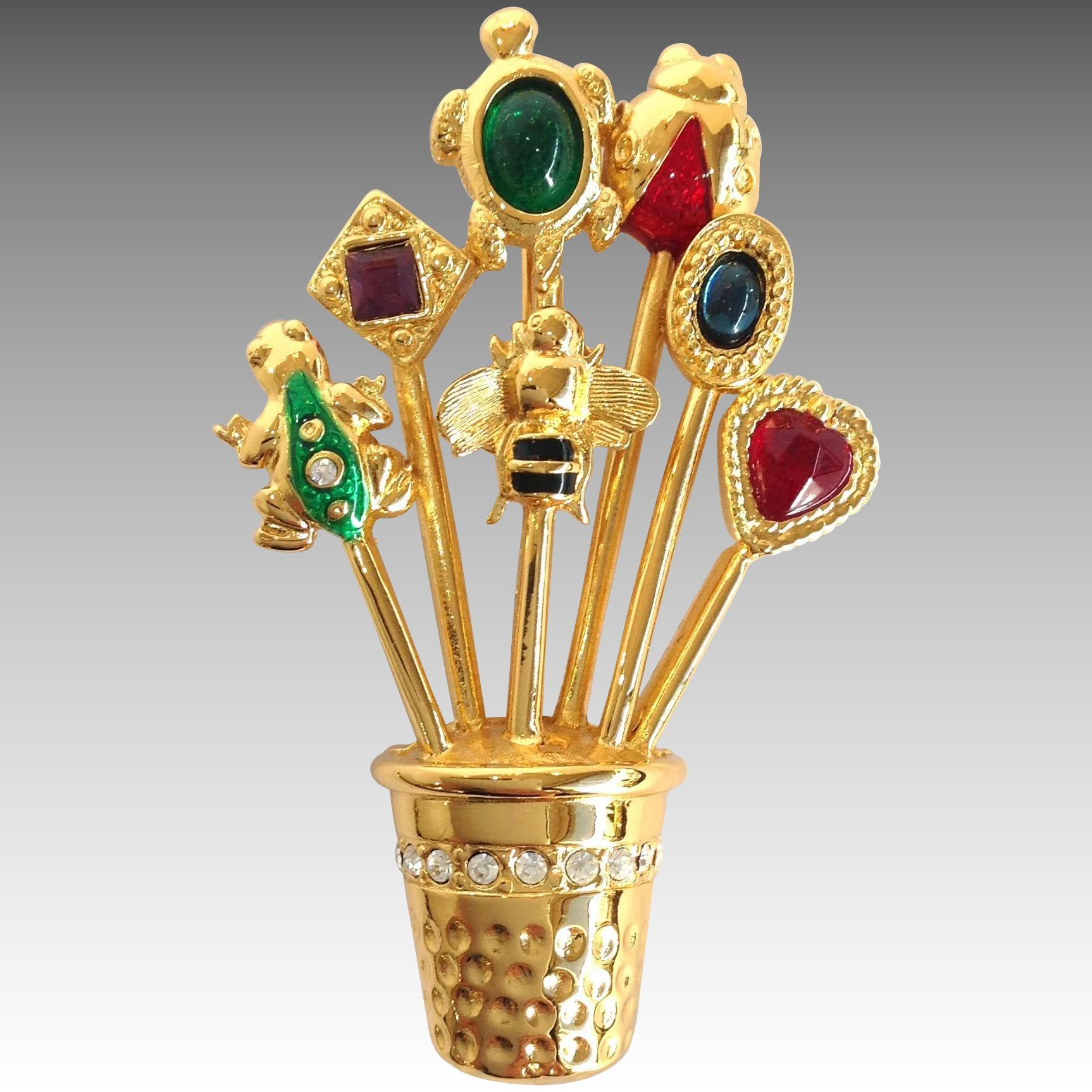 Vintage Thimble Hat Or Stick Pins Collection Brooch With: Carol Lee Stick Pins In Thimble Brooch : Antiques Of River