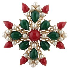 Trifari Maltese Cross Kashmir Brooch Vintage