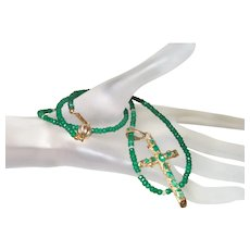 Estate 18K Gold and Emerald Cross