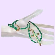 Hand Strung Emerald and Diamond Necklace with an 18 Karat Gold Emerald Cross