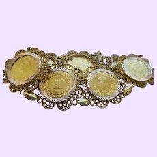 Vintage 14K Yellow Gold Filigree/Coin Bracelet