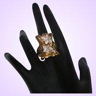 Clearance -  14KYG Electroform Diamond/Citrine Ring