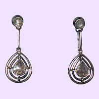 Antique Rose Cut Diamond Earrings In White Gold