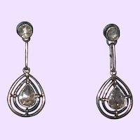 Antique White Gold/Rose Diamond Earrings