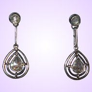 Antique White Gold/Rose Diamond Earrings