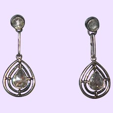 Antique Rose Cut Diamond Earrings In White Gold