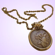 Vintage Silver Roman Style Coin/Yellow Gold Chain