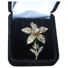 Antique Flower Brooch with Rose Cut Diamonds