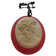Vintage Celluloid Cameo Pin