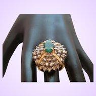 Emerald and Diamond 14 Karat Yellow Gold Ring