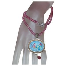Hand Strung Pink Topaz and Diamond Necklace with Signed Greek Pendant