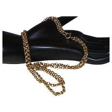 Vintage Double Strand 14 Karat Yellow Gold Necklace