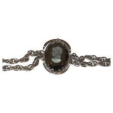 Vintage Black Intaglio Glass Cameo Belt