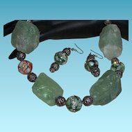 Hand Strung Fluorite Nugget Necklace with Bali Silver and Bandied Agate Rounds