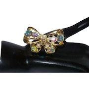 Vintage Aurora Borealis Bow Brooch
